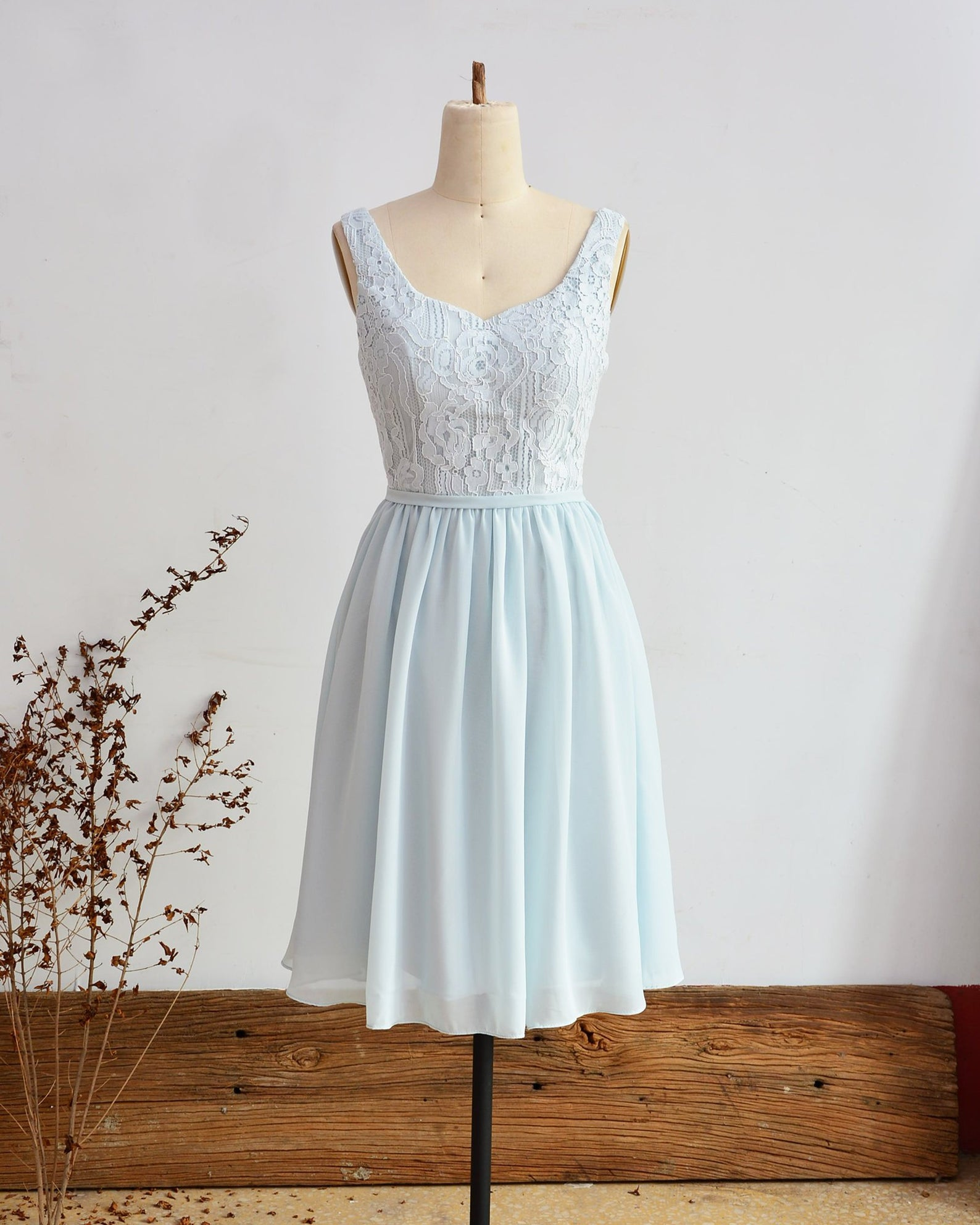 short light blue bridesmaid dress