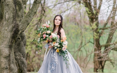 This Blue Ballgown Wedding Dress is Giving us Major Princess Vibes