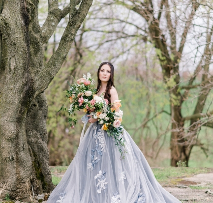 blue ballgown wedding dress
