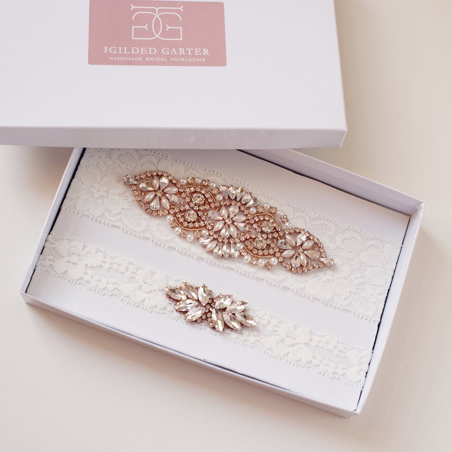 rose gold and crystal lace garter