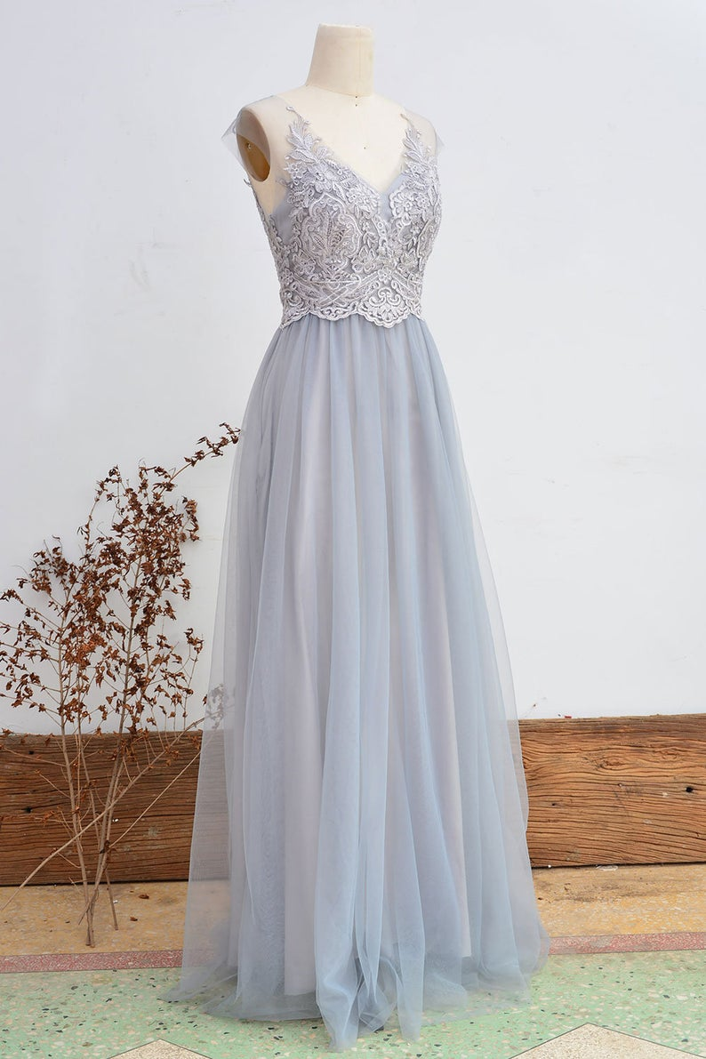 lace and tulle blue bridesmaid dress