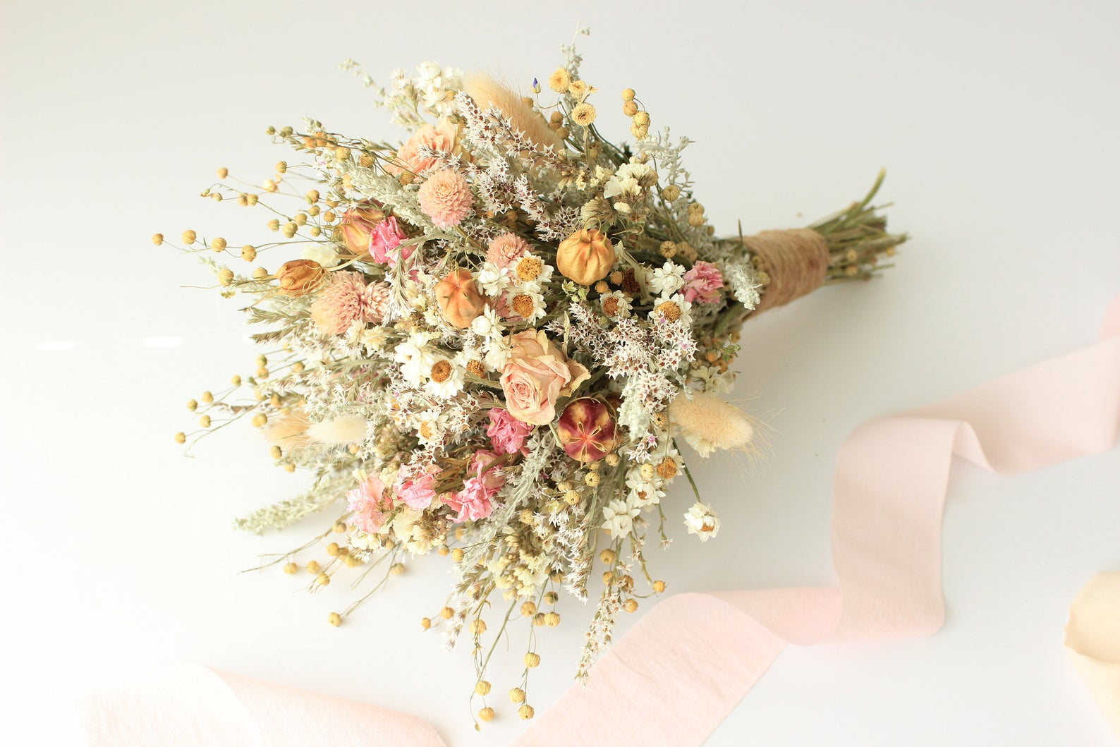 Pink & Peach Dried Flowers Bouquet