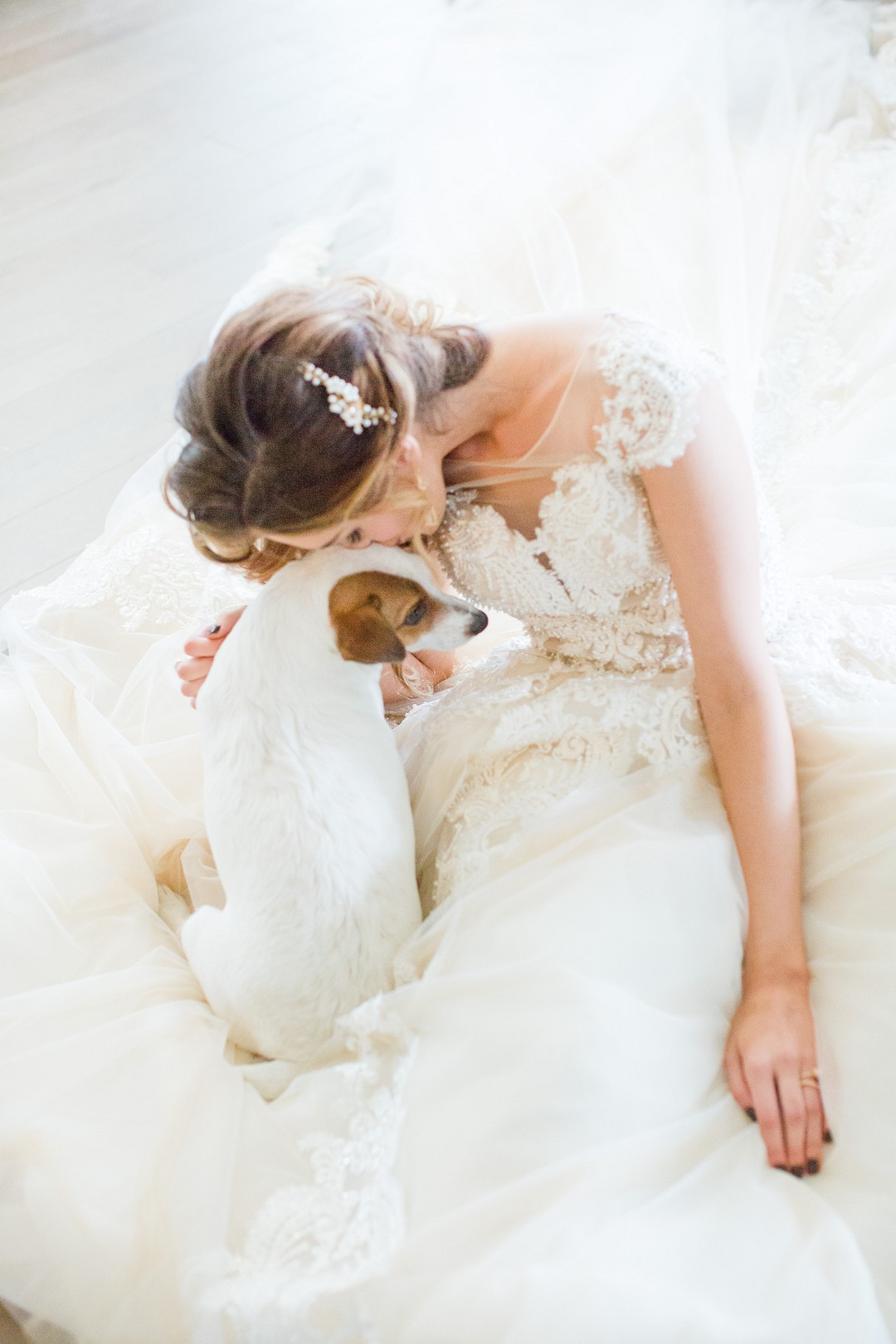 bride kissing a sweet puppy