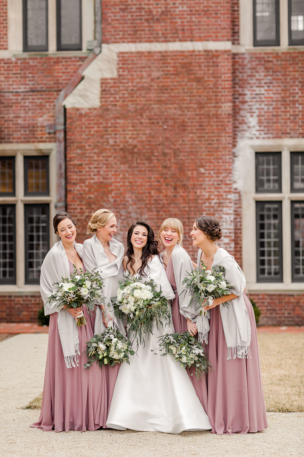 bride and bridesmaids at a new jersey winter wedding