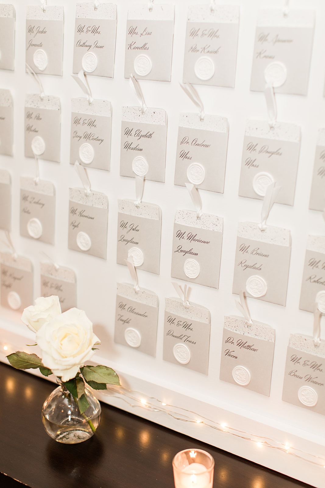 seating chart card with wax seal