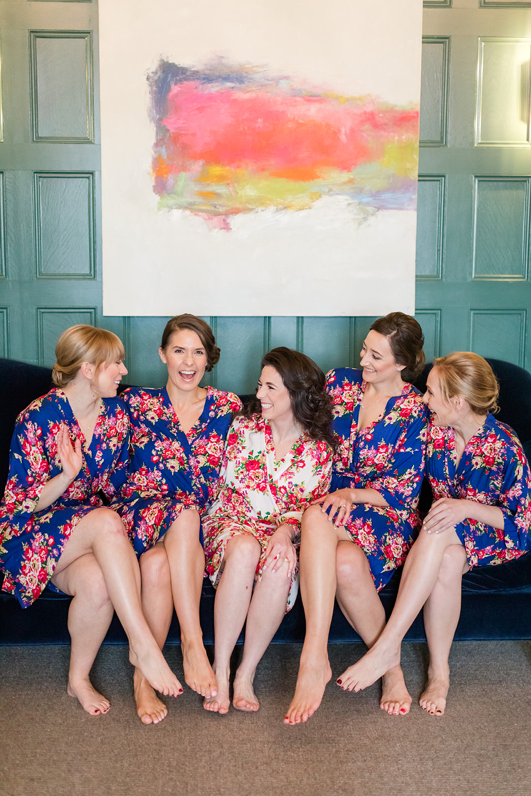 navy blue floral bridesmaid robes