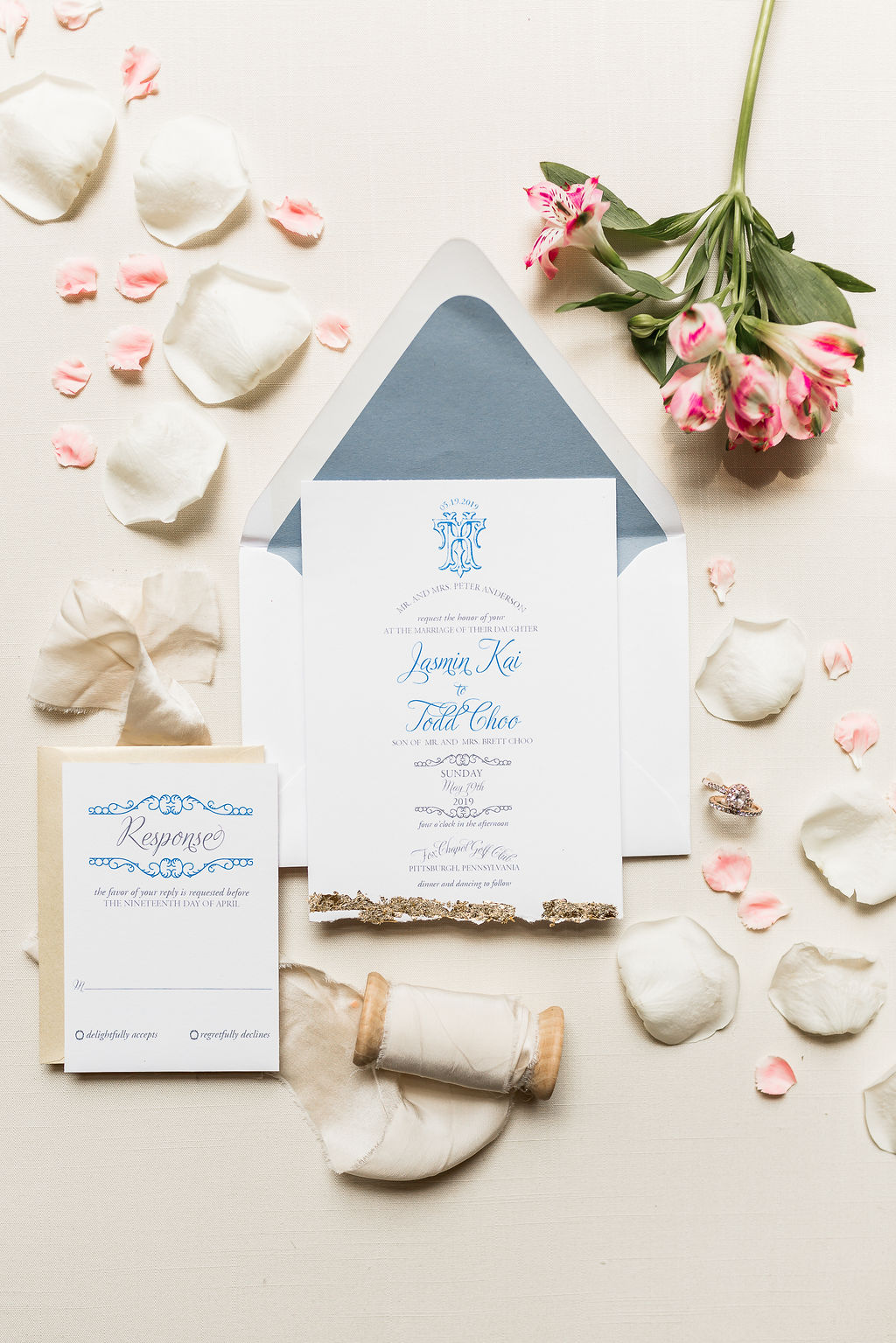 gold and blue baroque invitation suite