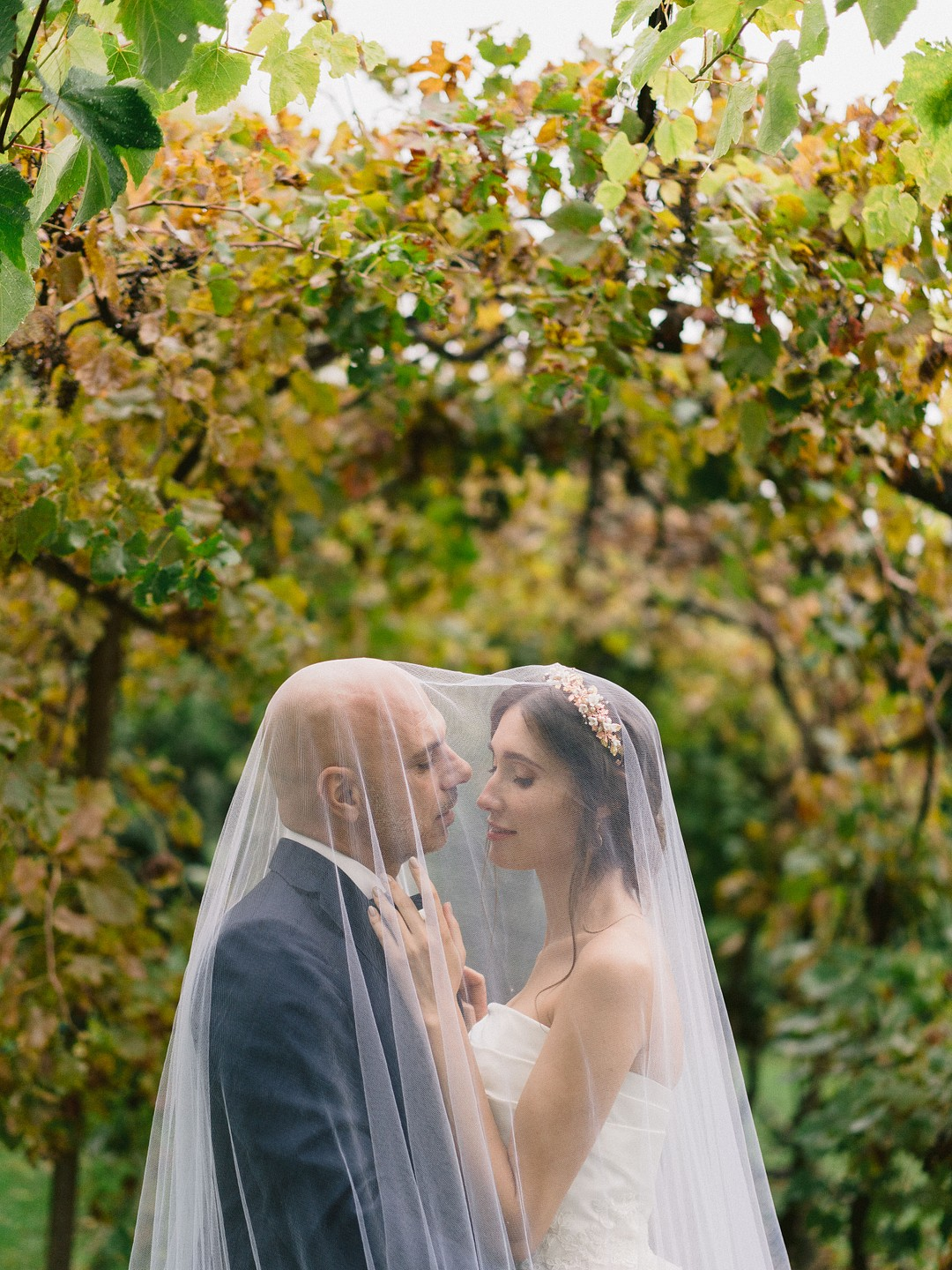 bride and groom under the grapevines