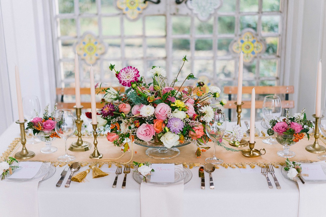 colorful flower centerpieces at Villa Pina Wedding
