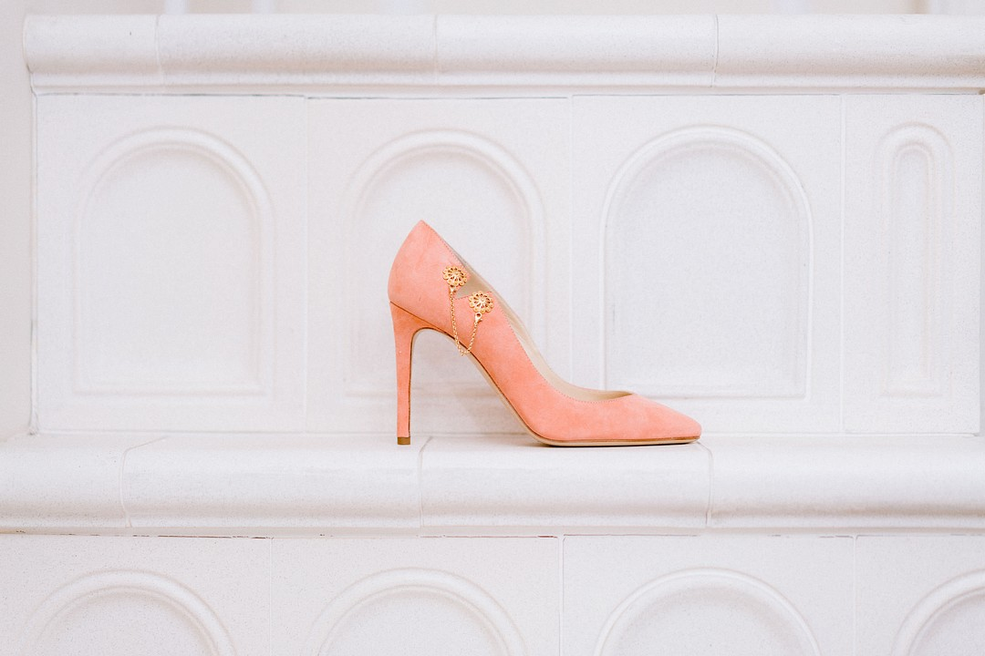 peach suede high heel shoes