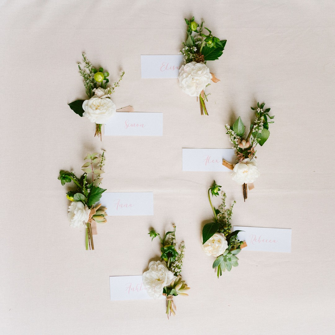 corsages with name tags