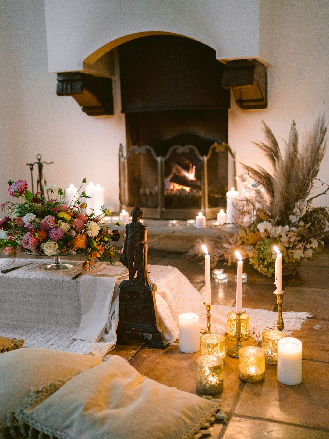 cozy fireplace setup for bride and groom