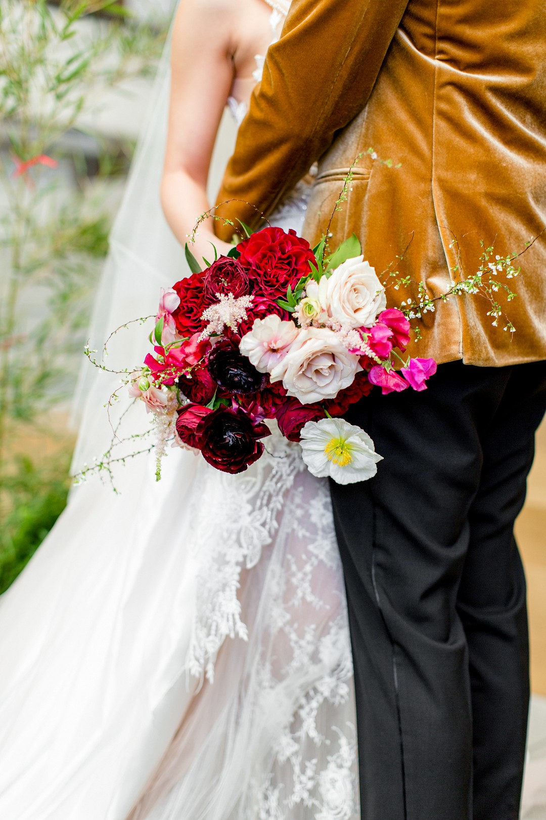 deep red bouquet and velvet accents