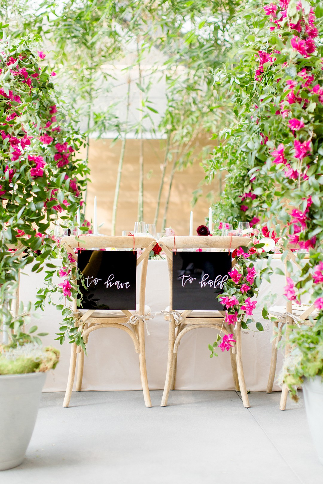to have and to hold bride and groom seat surrounded by bougainvillea