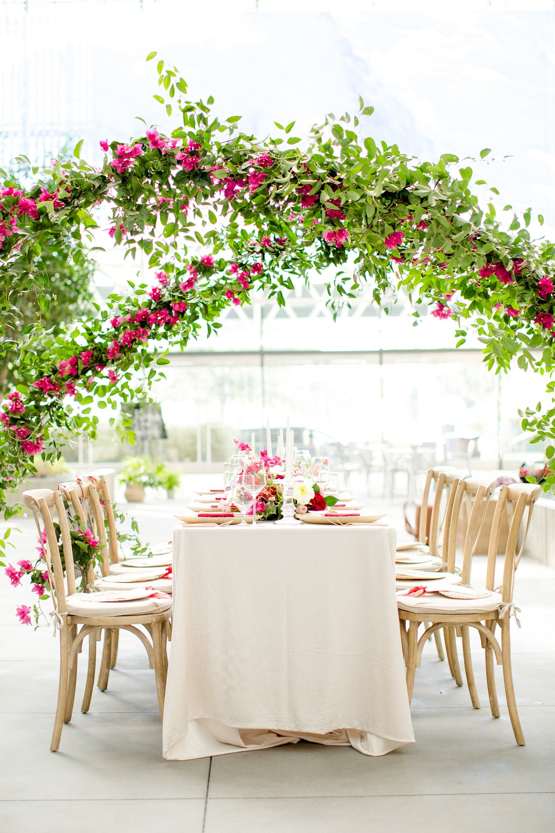 bougainvillea wedding reception arch