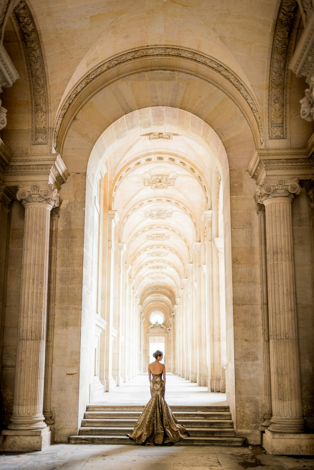 gorgeous gold dress in france elopement
