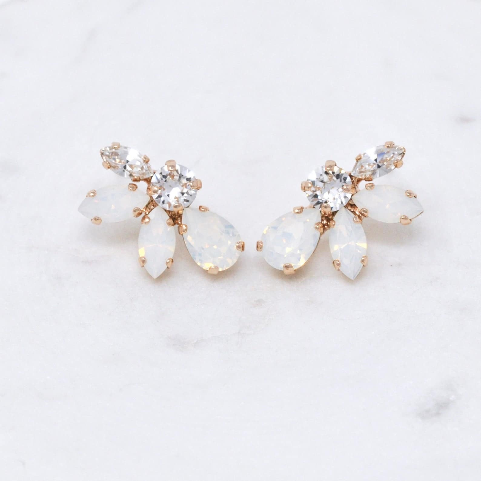white opal and crystal earrings