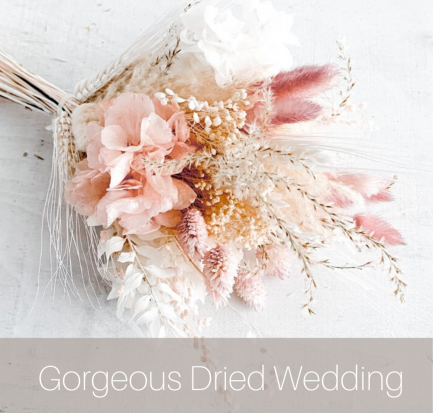 blush dried wedding bouquet