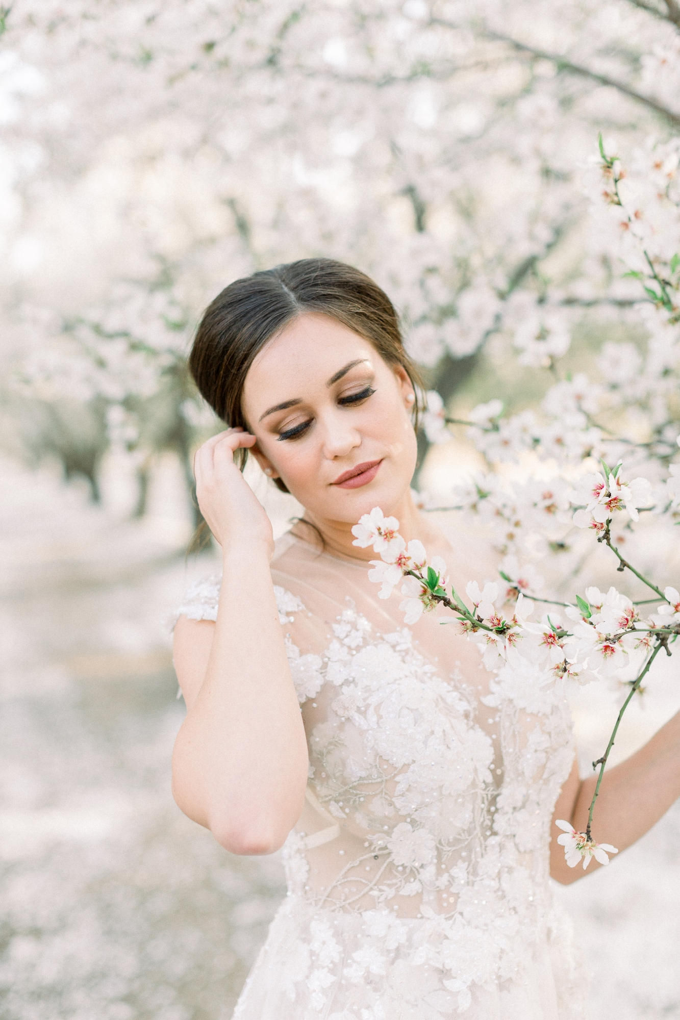 bridal portraits in an almond orchard
