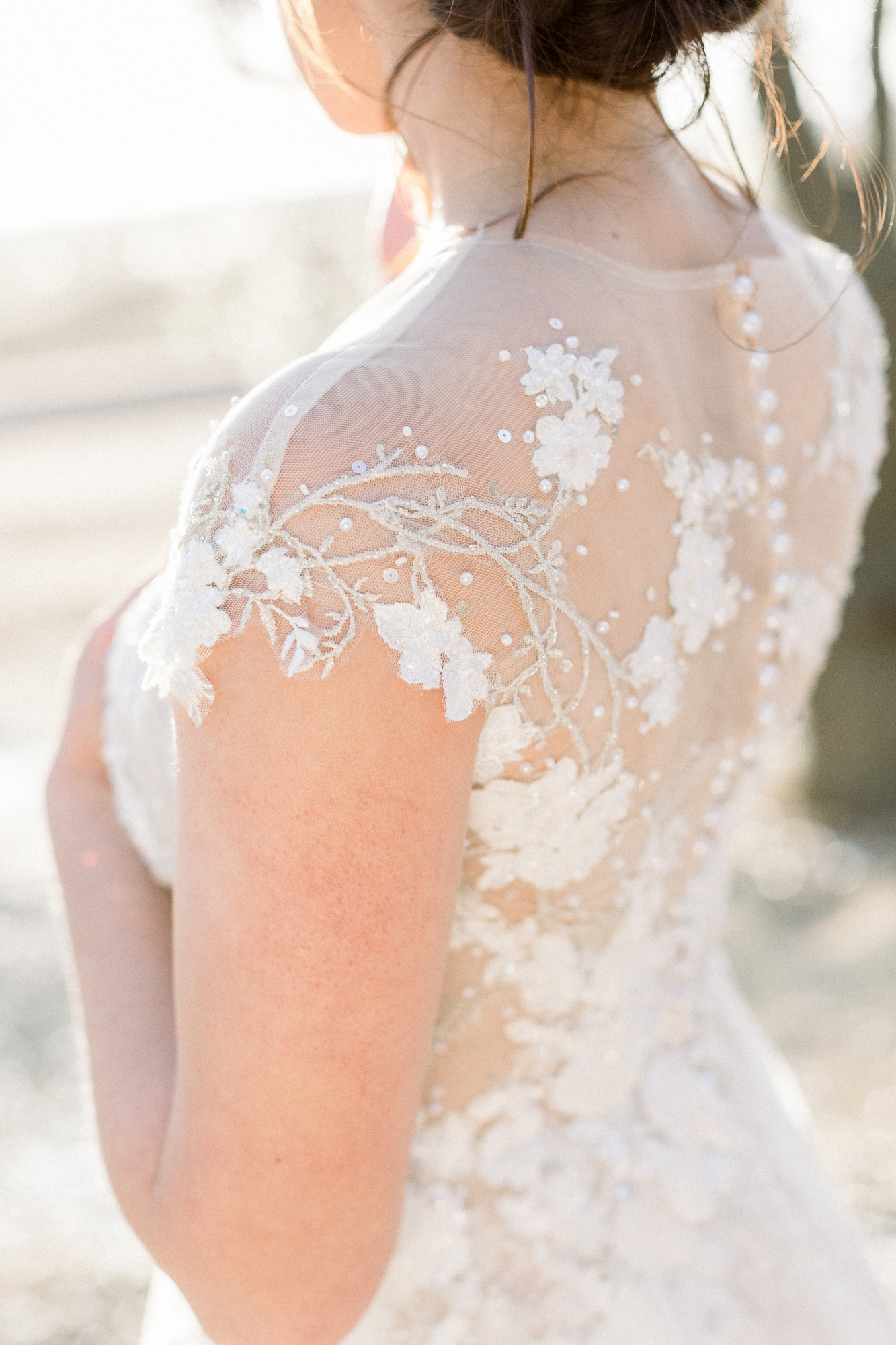 lace applique wedding dress with illusion button up back