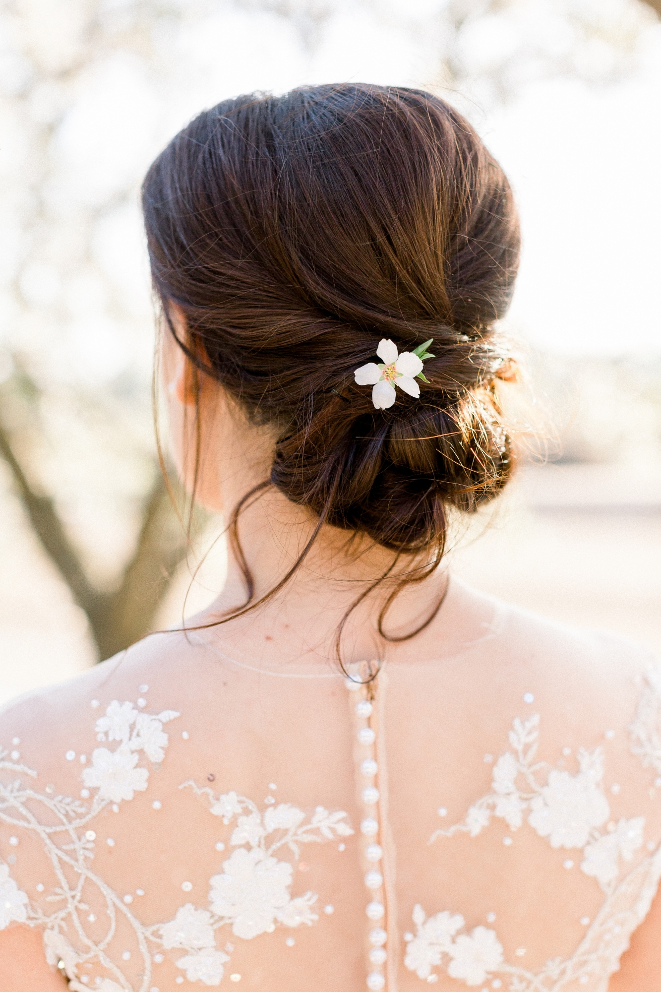 bride with almond orchard blossom in her hair