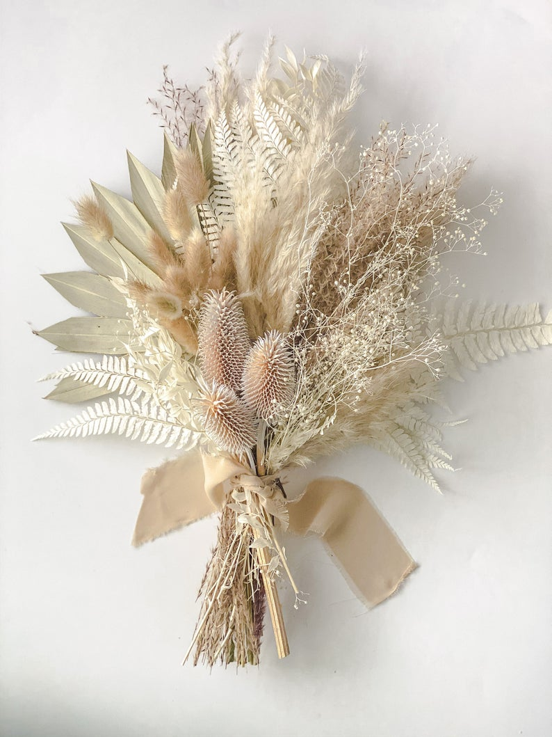 Pampas Grass and White Thistle Bouquet