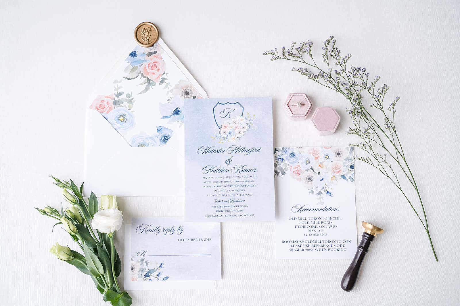 classic blue and pink floral invitation suite