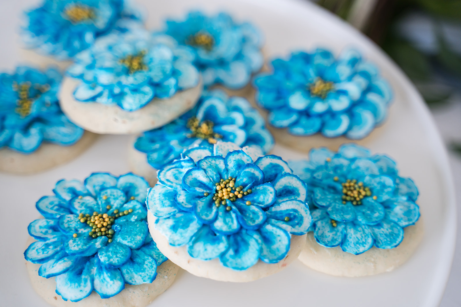 bright blue flower sugar cookies