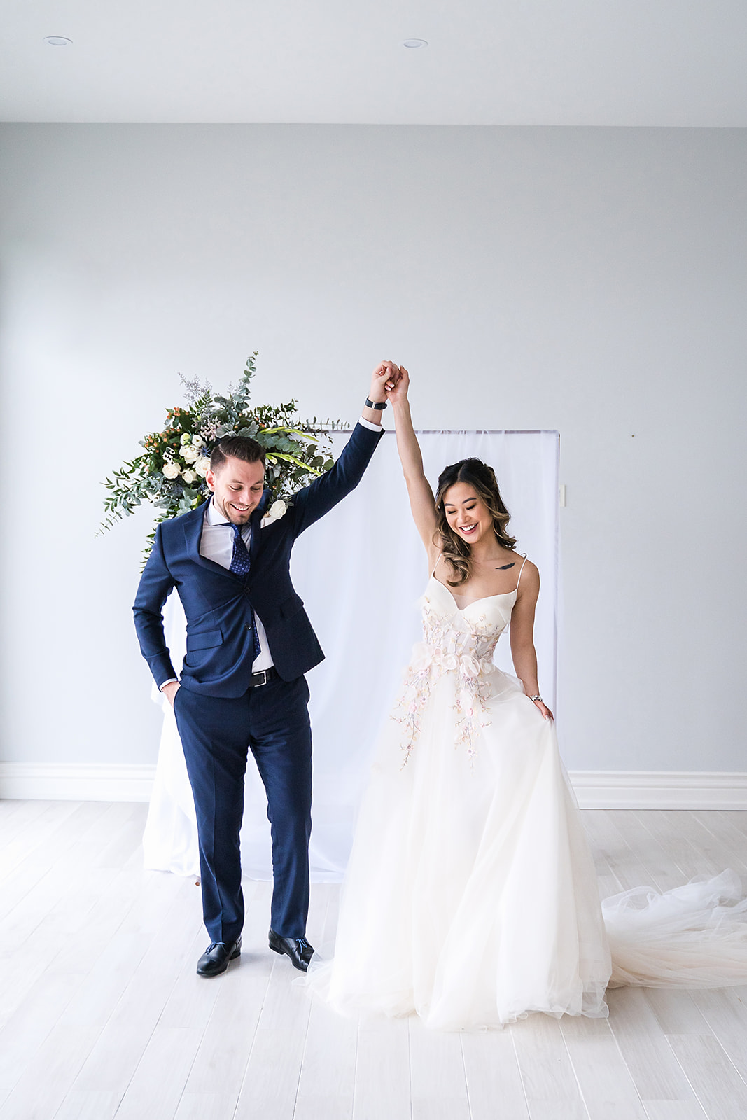 bride and groom celebrating their marriage