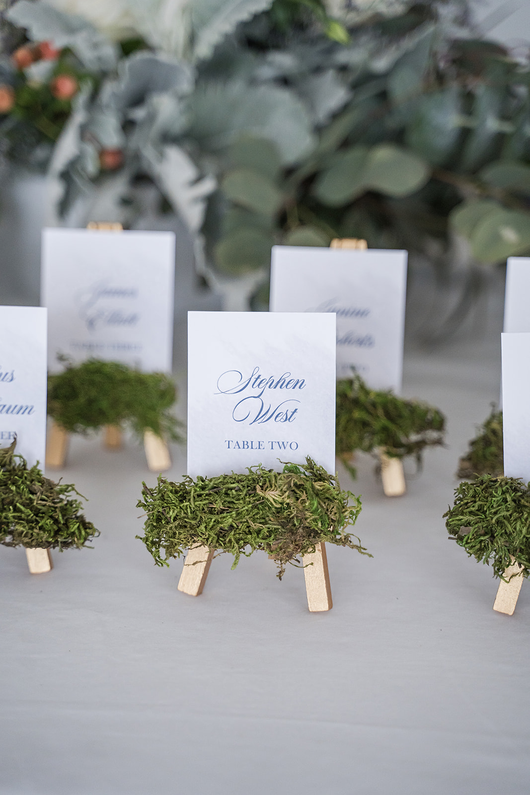 moss easel seating chart place-card holders