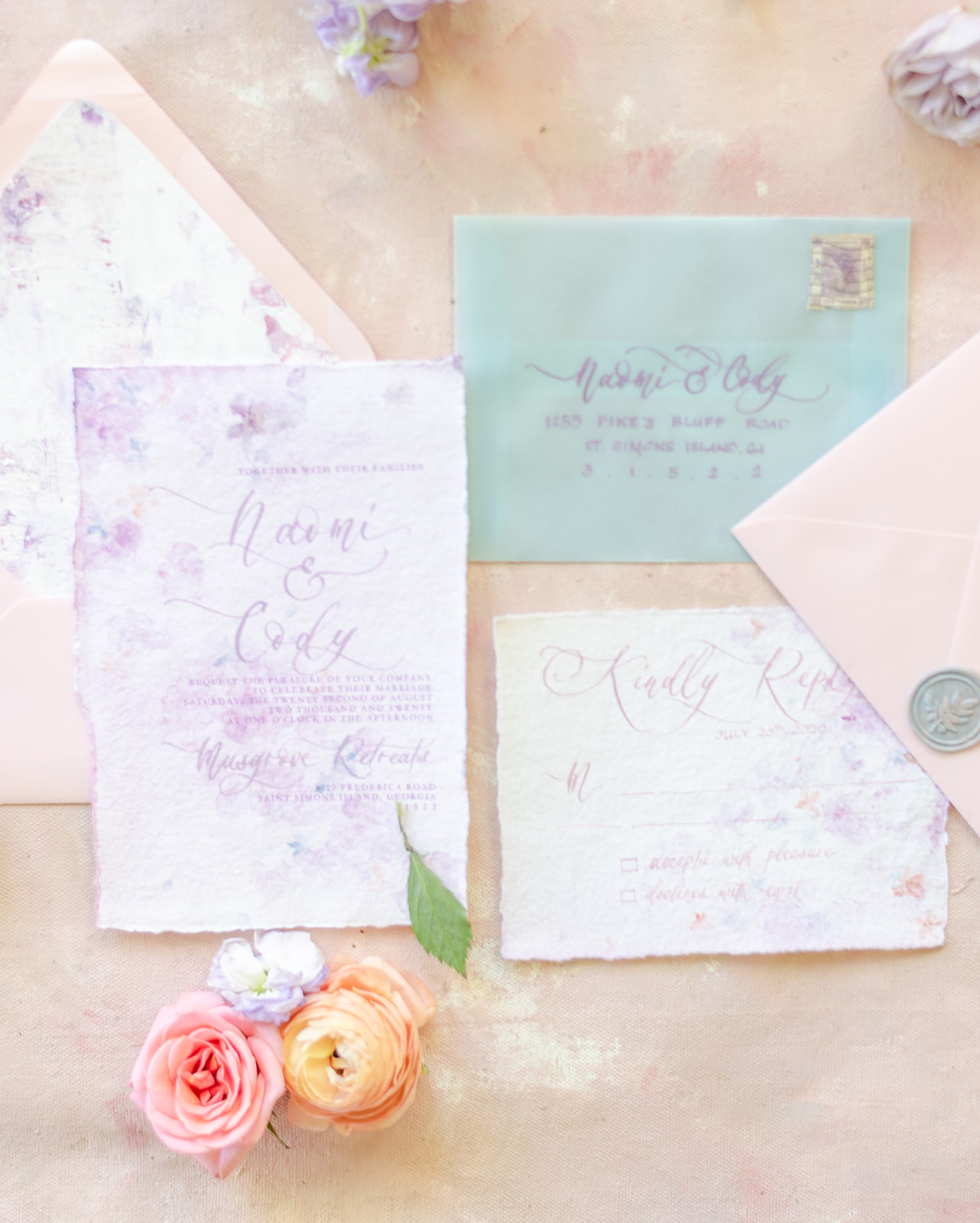 whimsical wildflower invitation suite