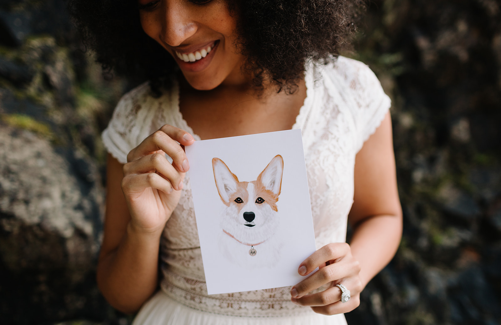 corgi watercolor wedding invitation
