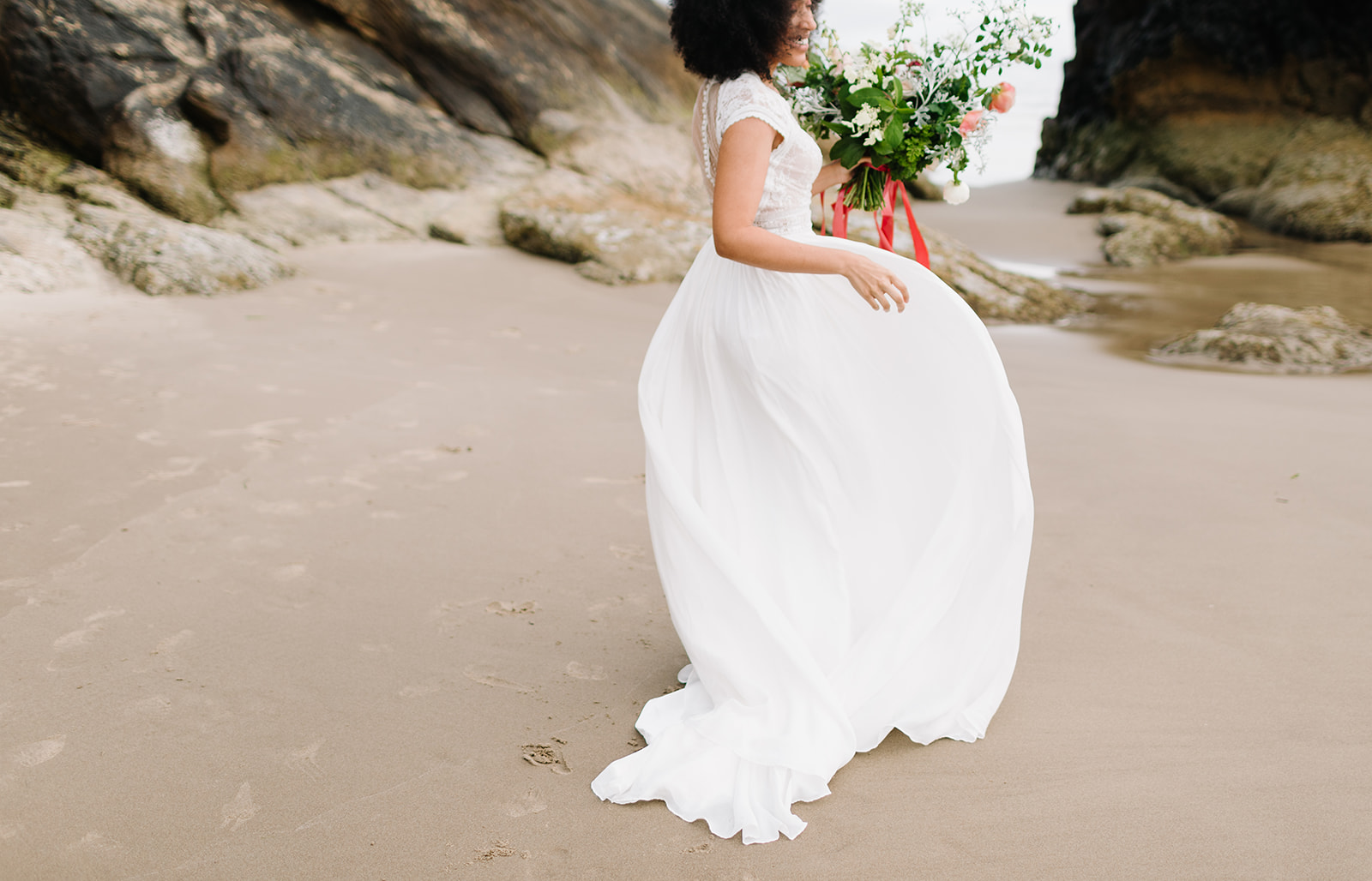 beautiful seaside bridal gown