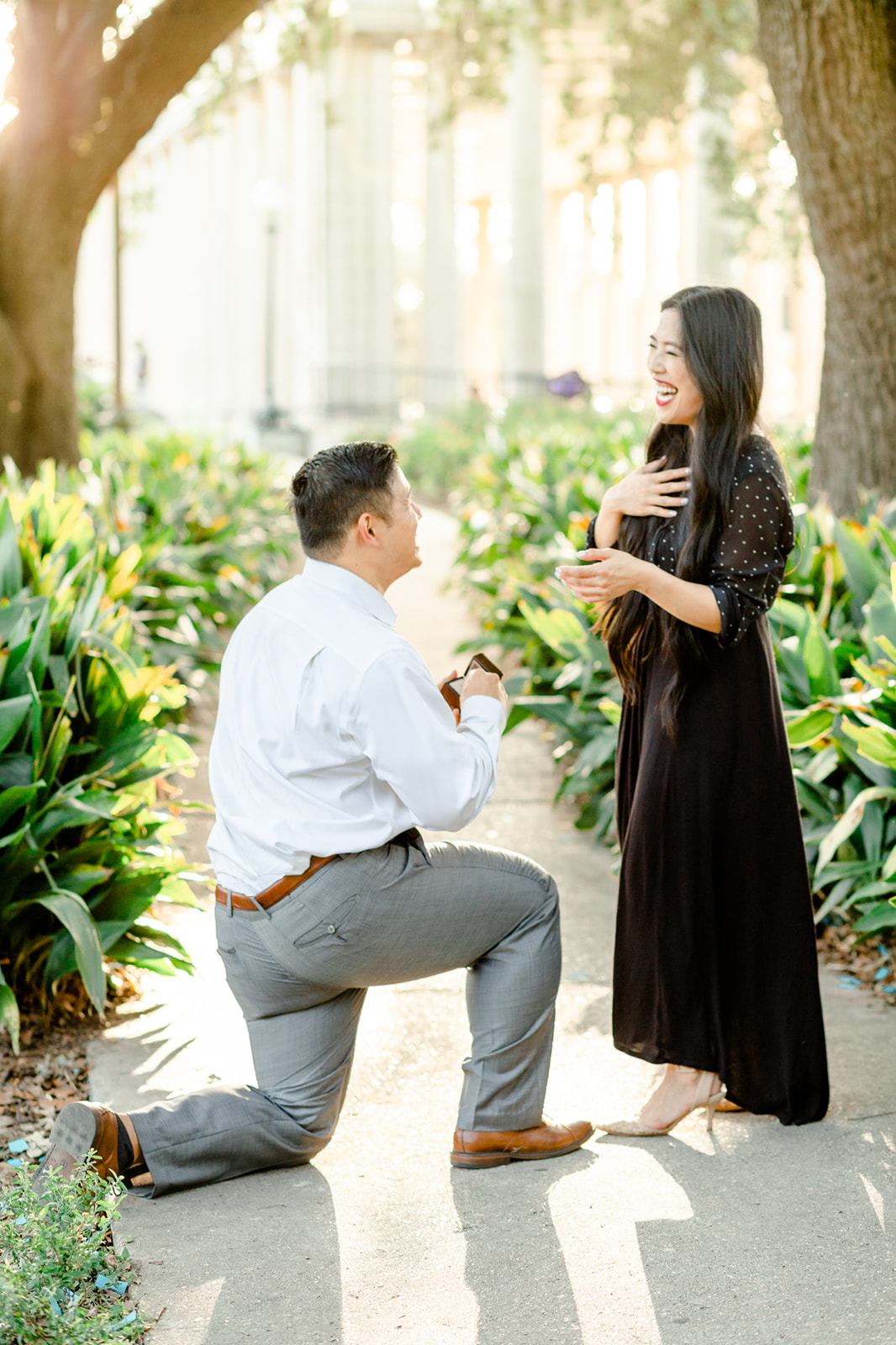 New Orleans City Park Proposal bride to be says yes
