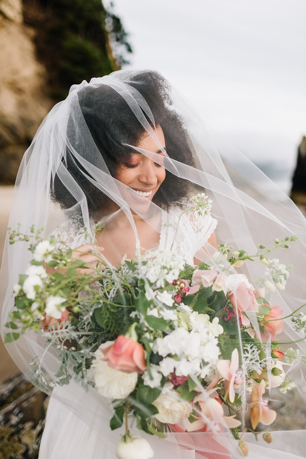 bride wearing a windswept veil