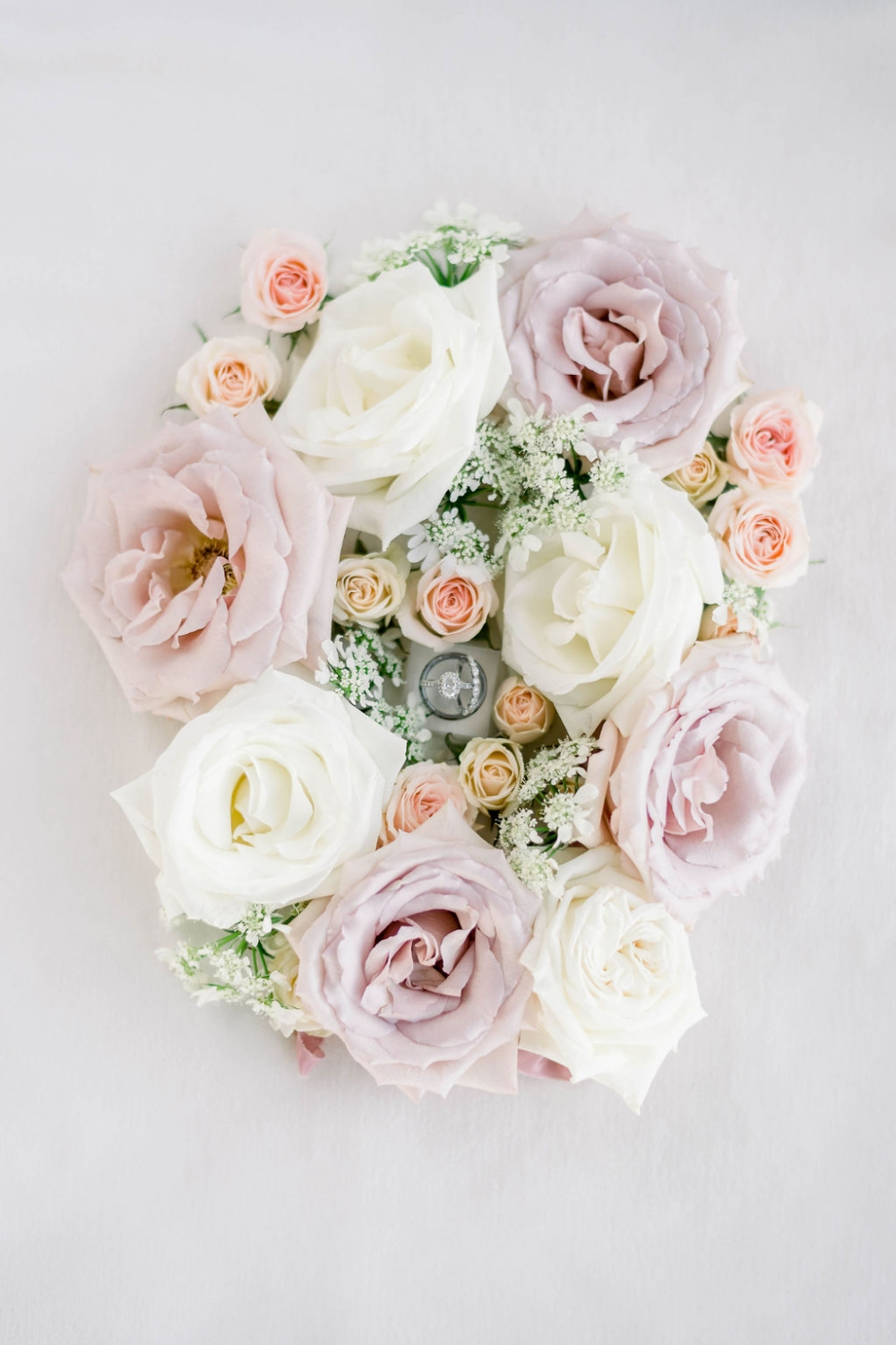 creamy white and blush roses