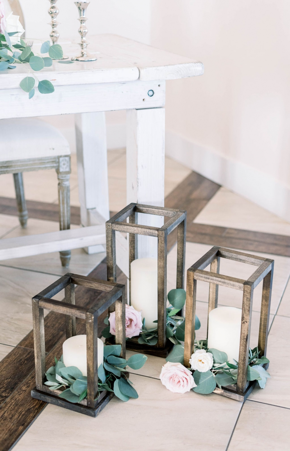 wooden rustic pillar candle holders