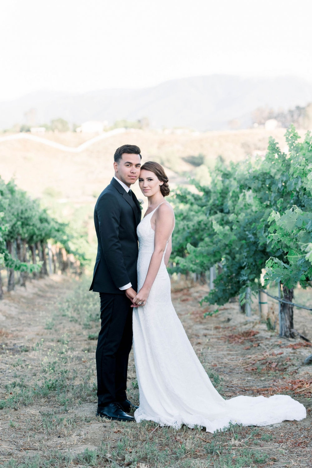 bride and groom photo in a vineyard in California