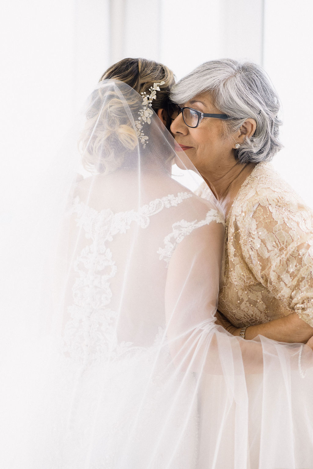 bride and grandmother first look
