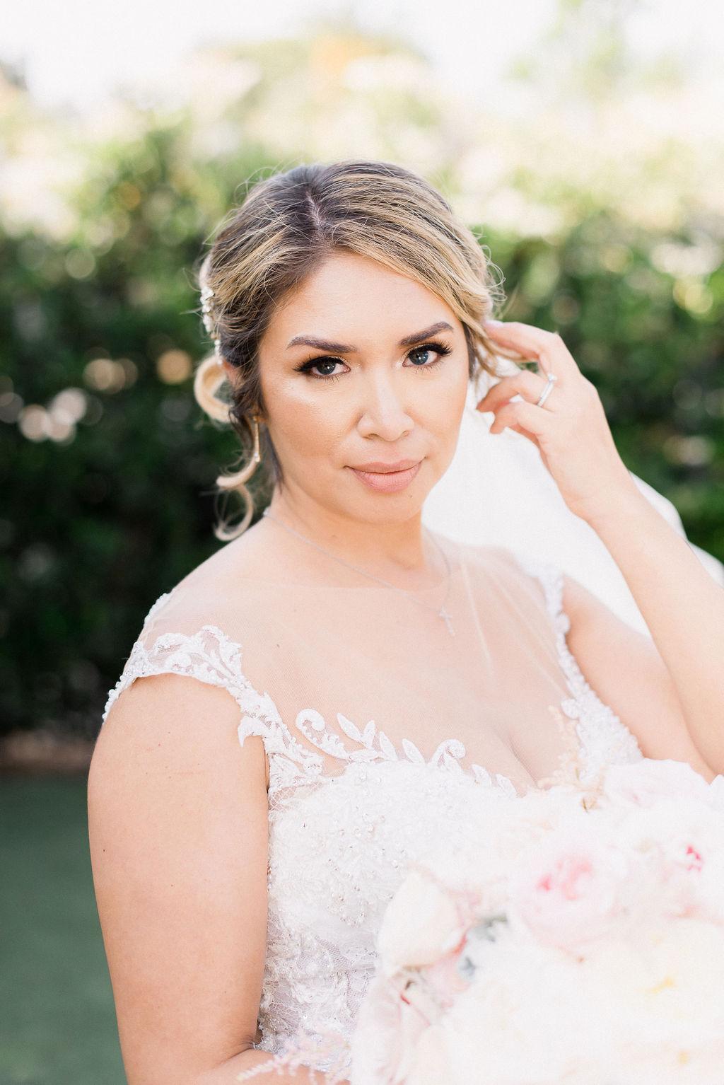 bridal portrait of pretty hispanic bride