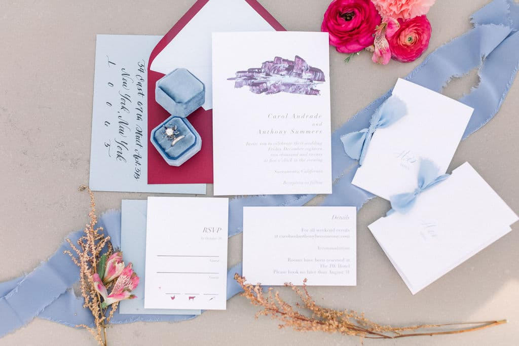 another detailed close up photo of red wedding invitation
