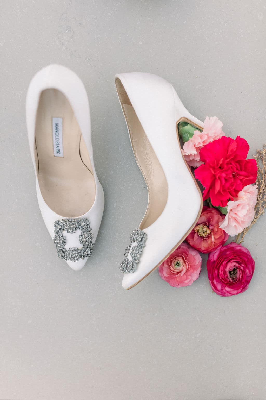 nude bridal shoe with bling and red roses