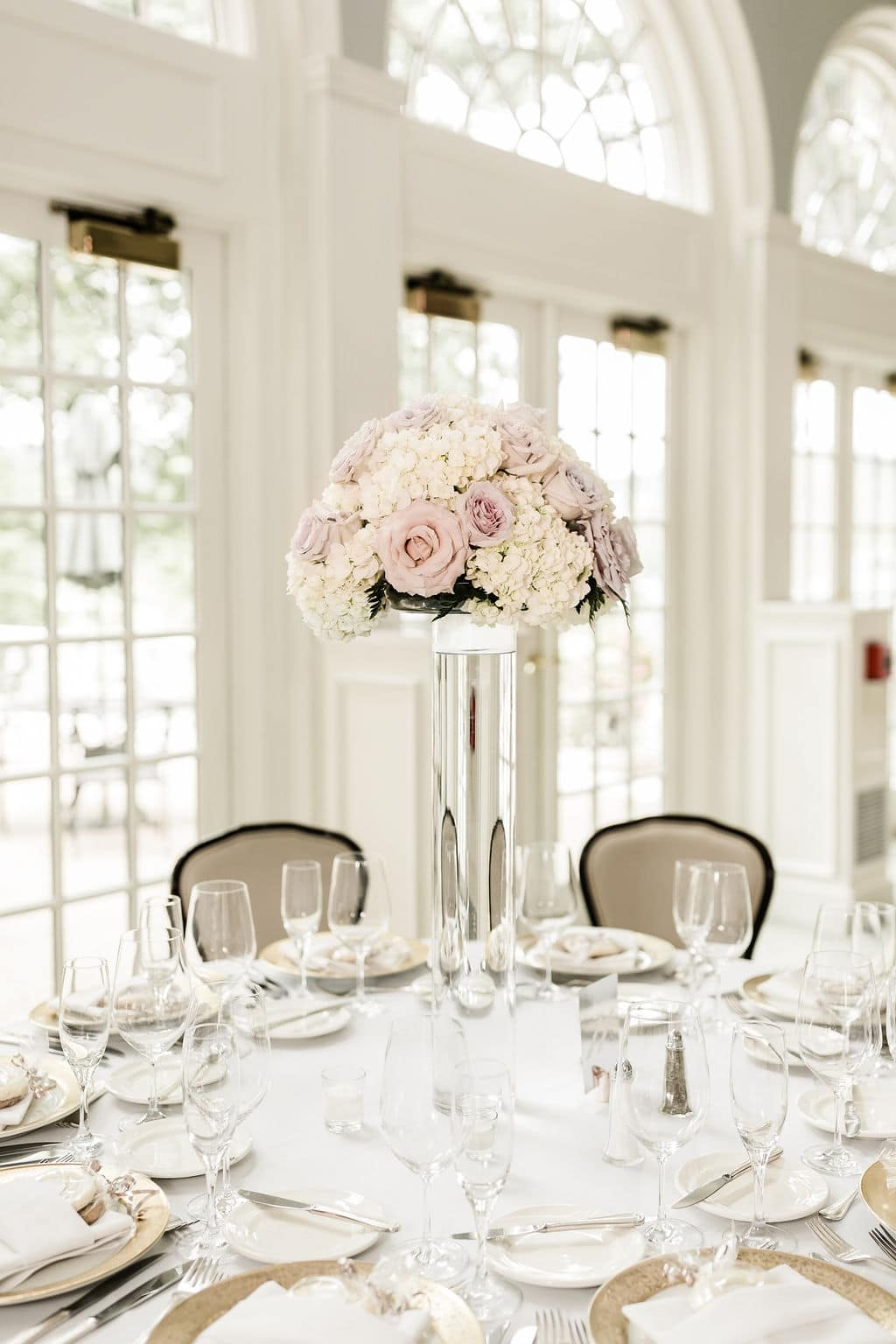 table florals with table set and blush pink floral