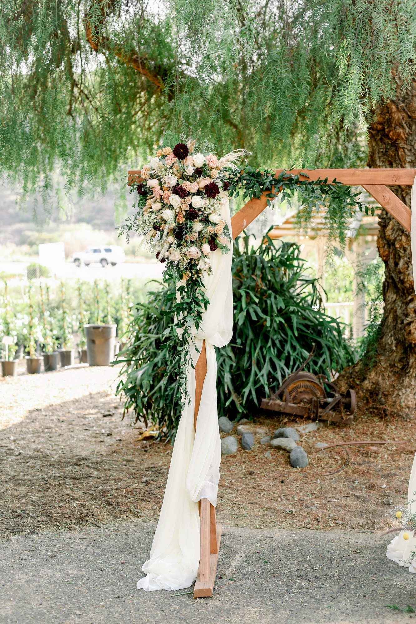 florals that decorate where the ceremony was