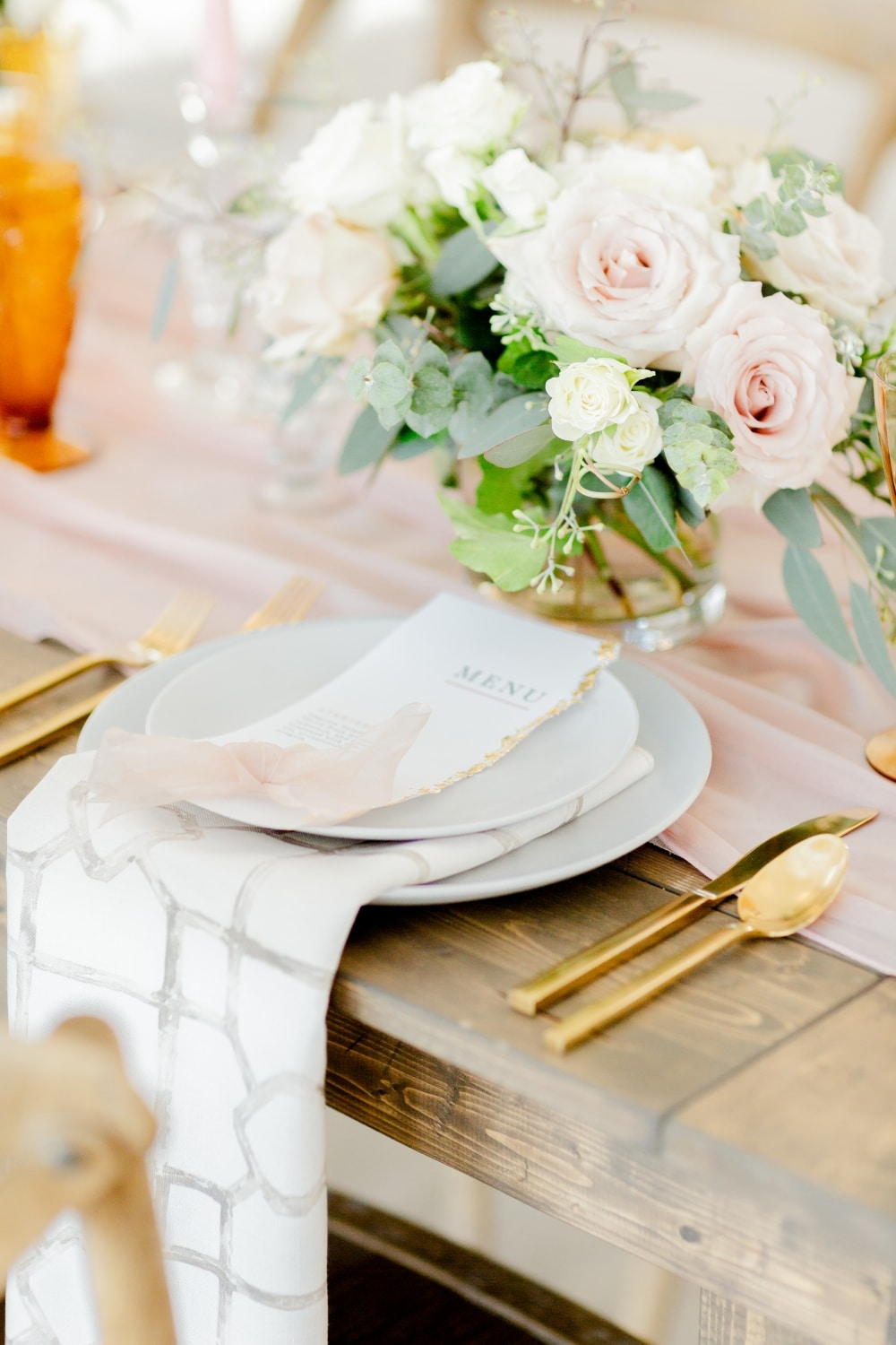 place setting at rustic white barn wedding
