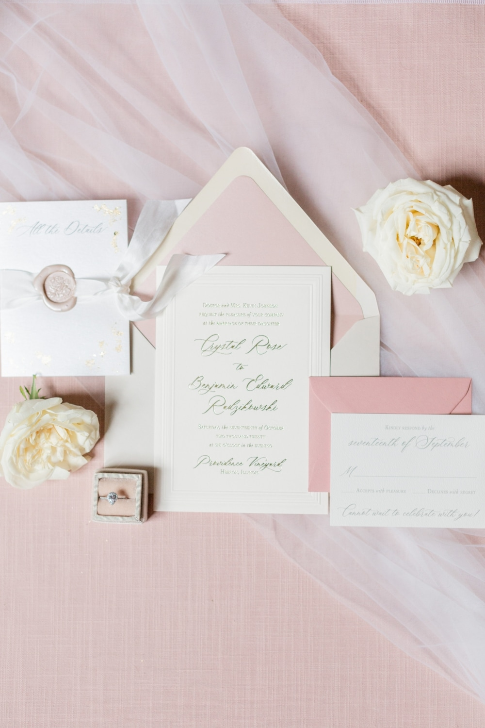 blusk pink invitation close up detail picture