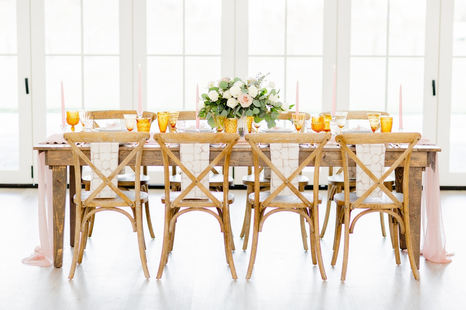 horizontal picture of table and rustic wedding chairs and table