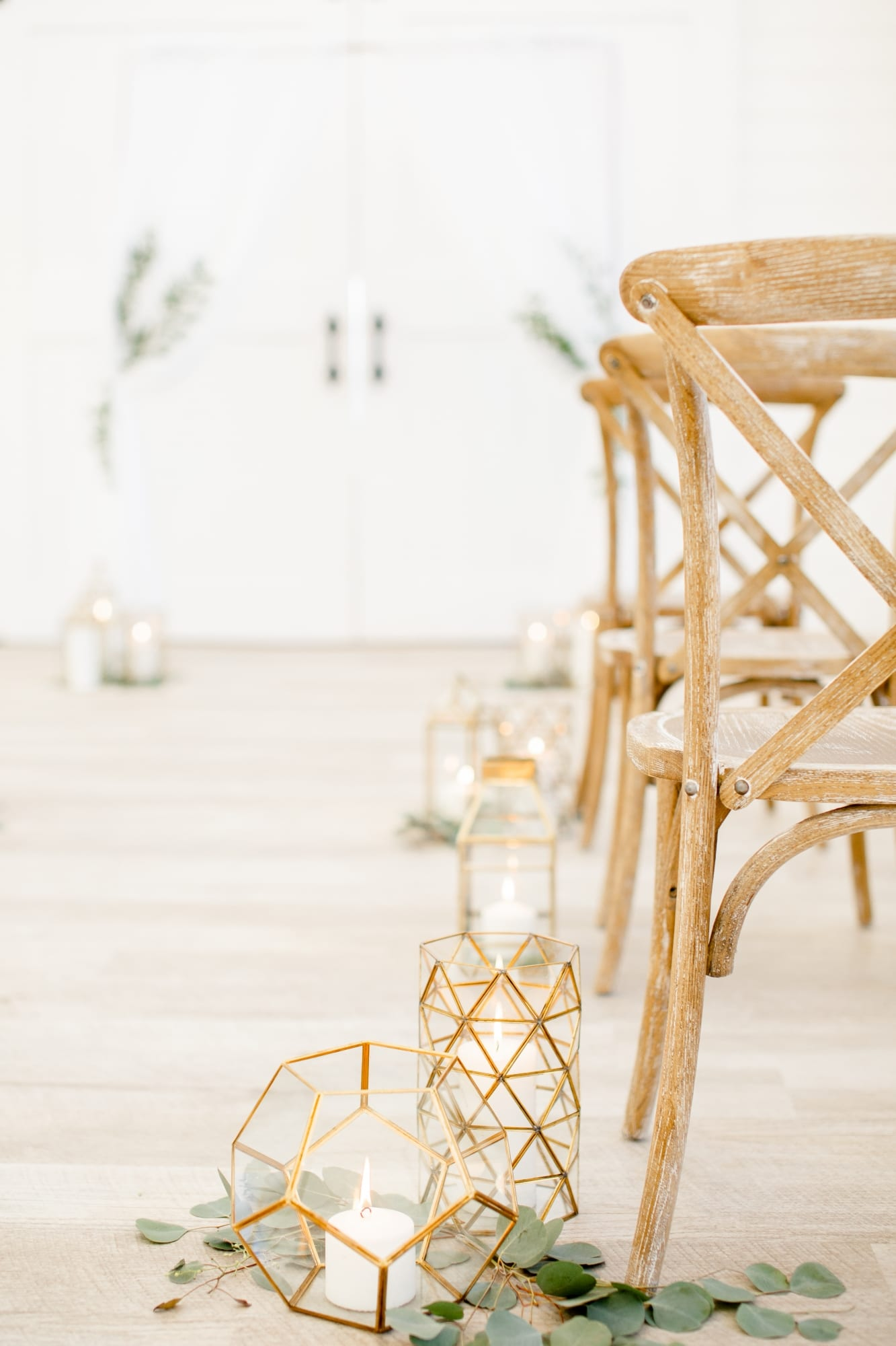 close up of rustic barn chairs at ceremony
