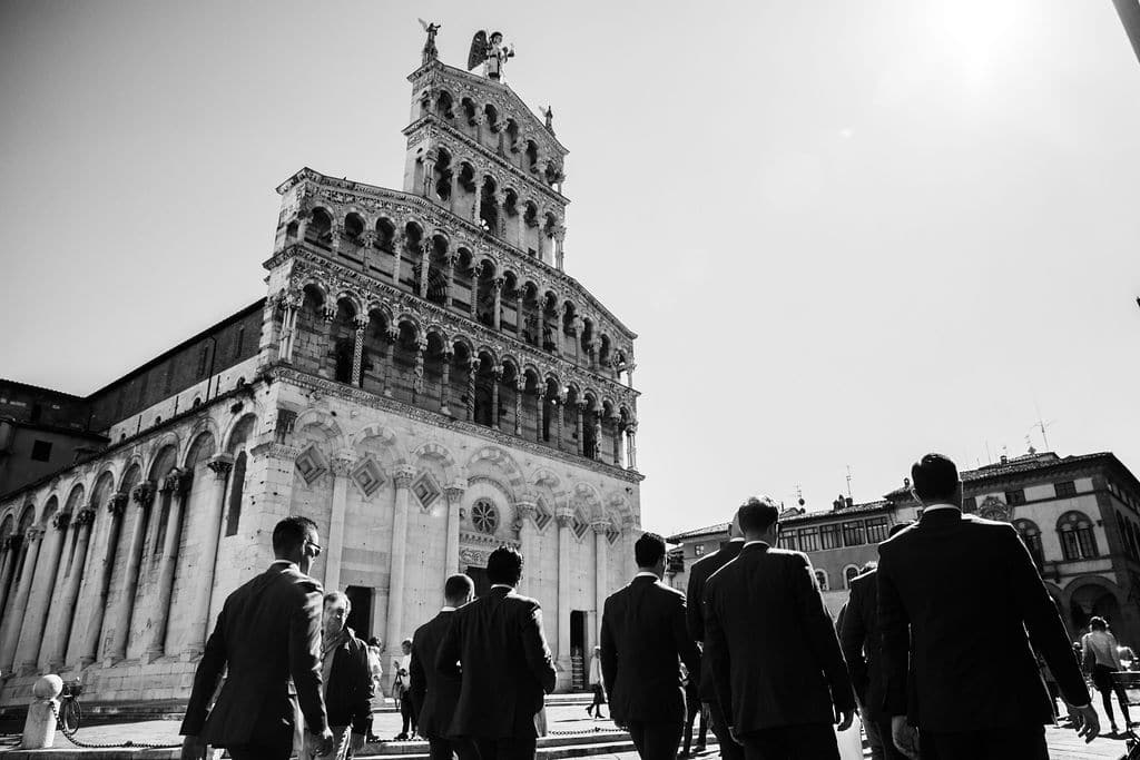old architecture rustic building black and white of groomsmen