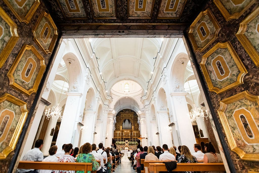 stunning Italian church with cathedral high ceiling and tons of art